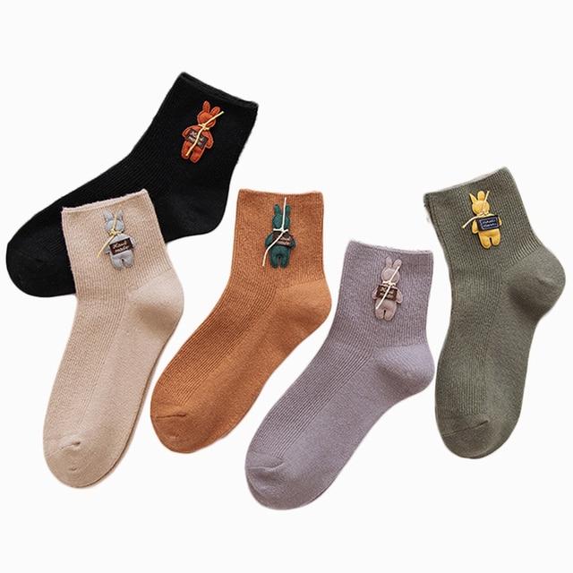 5ef084883 Peonfly 2018 nuevo conejo medias de las mujeres dibujos animados borlas  Moda Color solido calcetines largos cortos de algodón mujer algodon niña  cortas ...