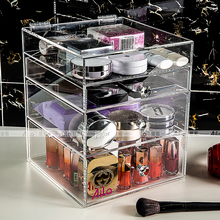 Aila Clear Acrylic Makeup Organizer Storage Box Case Cosmetic Jewelry 3 Drawer Cases Holder Makeup Container Boxes