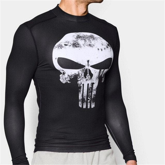 2017  Punisher Mens Long Sleeve T-shirt 3D Printed Crossfit Mens Gerry Conway Fitness Clothing Male Tights Tops S-4XL