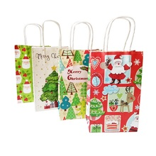 10 Pcs/lot 21x13x8cm Merry Christmas Gift Bag With Handle Decoration Kraft Paper Bag Lovely Christmas Tree Santa Claus Paper Bag