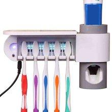 2-в-1 УФ Зубная щётка дезинфекции стойки автоматический зубные пасты комплект стерилизации Зубная щётка держатель Зубная щётка стерилизатор