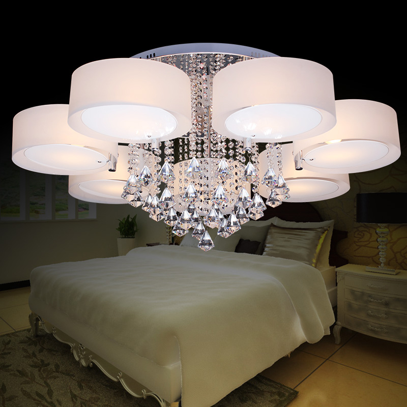 Fashion romantic crylic Circle led ceiling light fixture modern brief home deco living room crystal ceiling lamp E14 lampholder furnishings brief modern k9 crystal flower pendant light fixture european fashion home deco living room diy glass pendant lamp