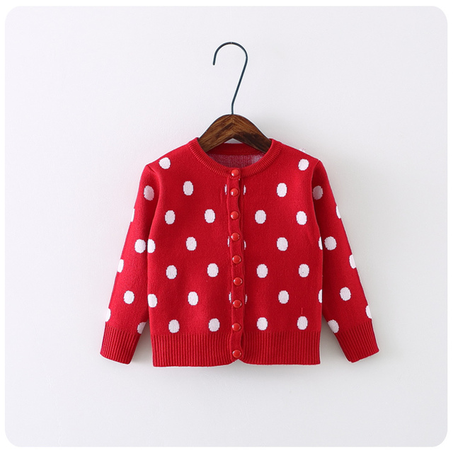 sweaters for children 2017 autumn winter baby girl sweater long sleeve casual girls knitted cardigan dot printed baby sweater