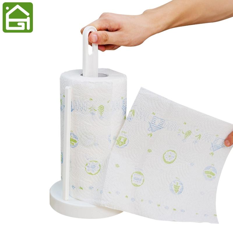 Modern Stand Up Paper Towel Holder White Durable Plastic Tissue Roll Paper Dispenser For