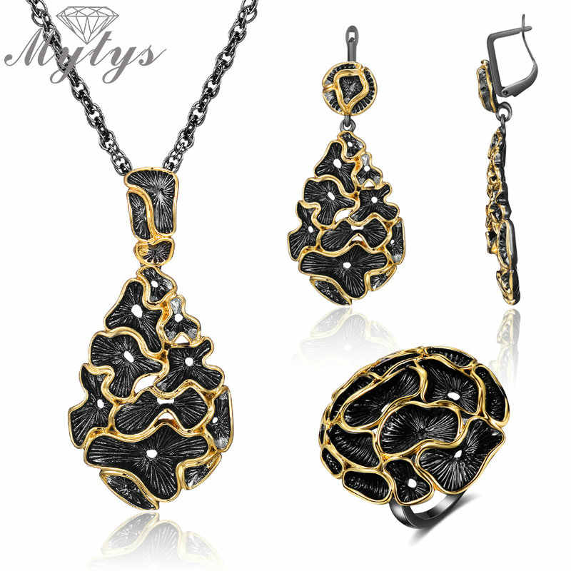 Mytys Vintage Black Gun Jewelry Set Fashion Women Jewelry Set Antique Silver Yellow Gold Lace Flower Necklace Sets 3pcs