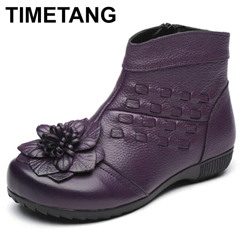 TIMETANG Handmade Flowers Women Boots Genuine Leather Winter Women Flats Shoes Casual Ankle Boots Autumn Botas Mujer C325 2017 new autumn winter british retro men shoes zipper leather breathable sneaker fashion boots men casual shoes handmade