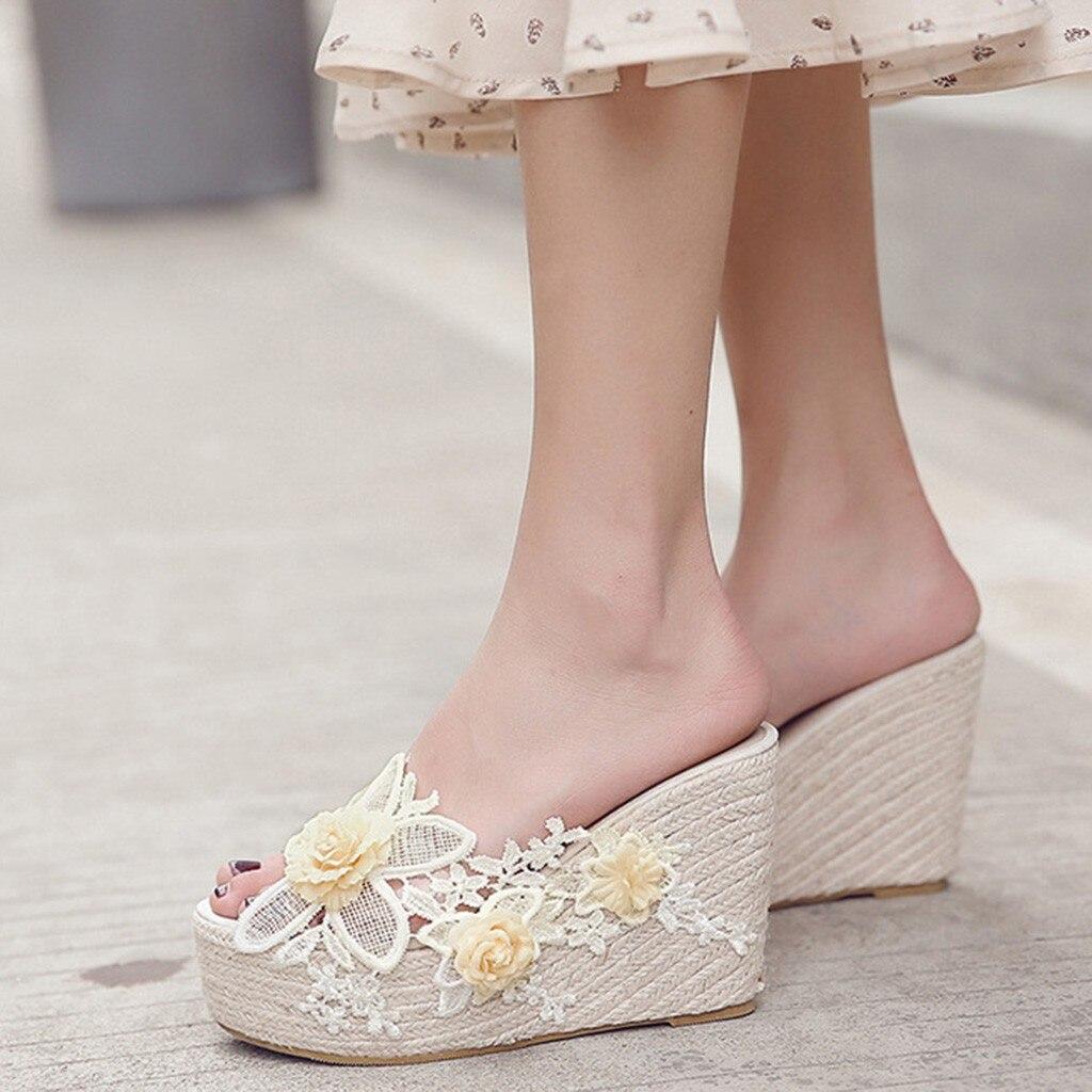 Summer Lace Sweet Romantic Platform Hemp Sandals Wedge Beach Women Slippers Shoes Woman Flip Flop Claquettes Femme Chaussure