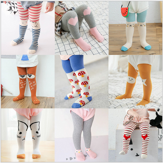 0-3T New Cotton Knitting Baby Tights Infant Girls Boys Cartoon Non-Slip Tights Toddler Stockings Pantyhose Children Clothing 2017 new 1 4years baby girl kid toddler cotton solid knitting tights pantyhose tights pants hosiery