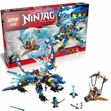 LEPIN 06027 Ninjagoes Jay's Elemental Dragon Building Block Set Cyren Minifigure Monkey Wretch Toy Compatible with legoe 70602