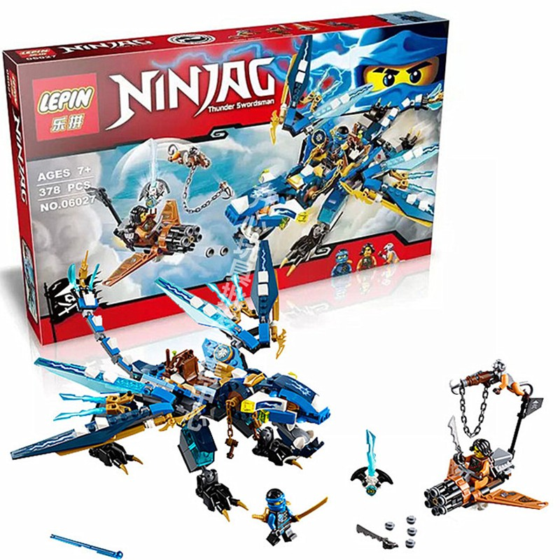 LEPIN 06027 Ninjagoes Jay's Elemental Dragon Building Block Set Cyren Minifigure Monkey Wretch Toy Compatible with legoe 70602