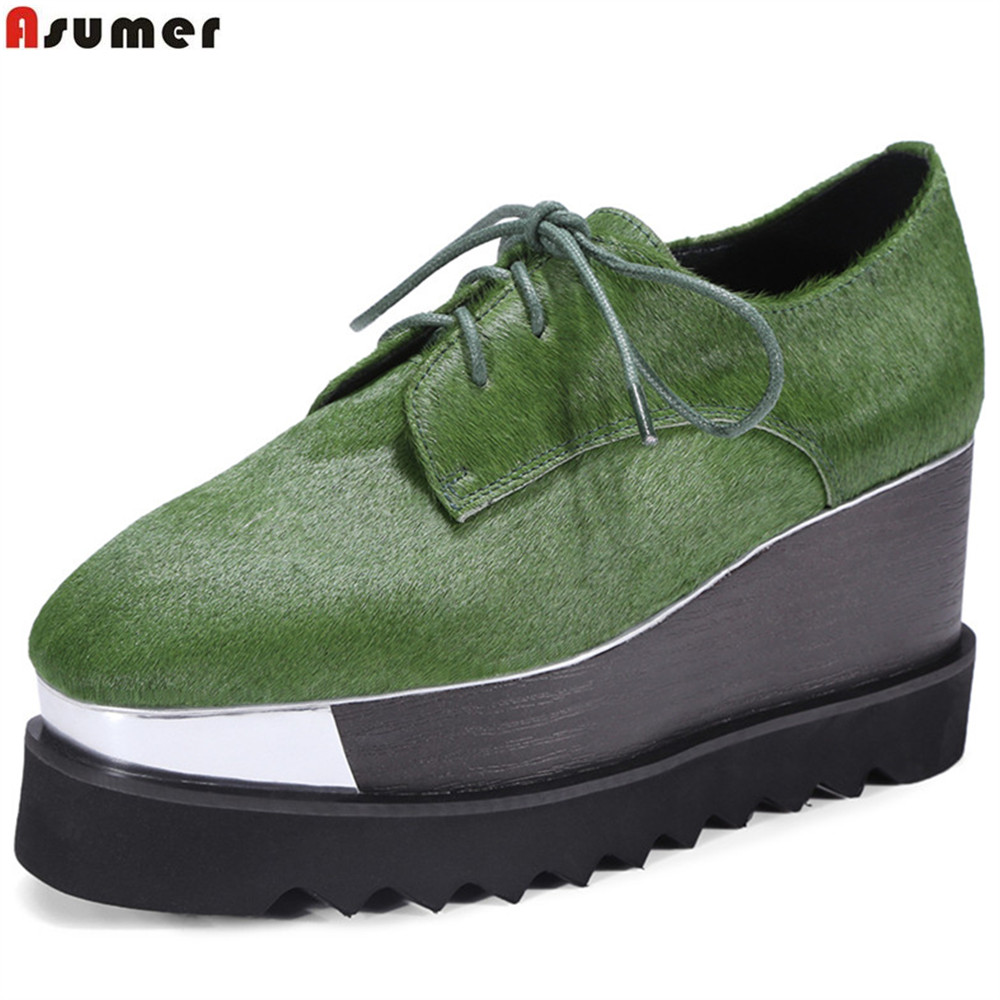 ASUMER green black wine red square toe lace up spring autumn pumps shoes platform wedges women leather high heels shoes игрушка ecx torment black green ecx03033t2