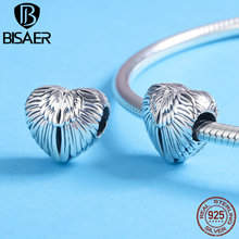 Accessories Lover Gift Vintage Sterling 925 Silver Love Heart Wing Bead Fit Charms Charm Bracelet & Necklace ECC780