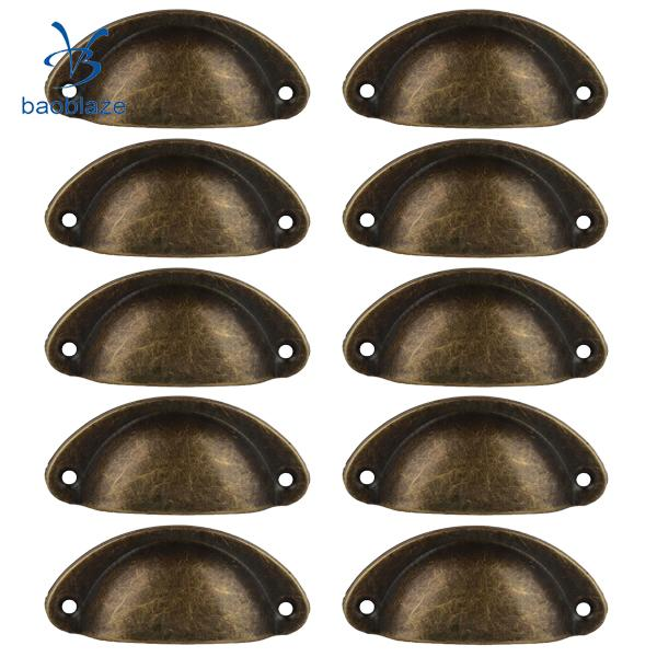 10Pcs Antique Iron Kitchen Cabinet Knob Cupboard Drawer Cup Pull Handle Vinta Kd