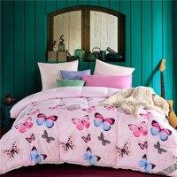 パパ&美馬キルティングキルト厚い冬毛布ツインクイーンサイズピンク蝶プリントコットン生地寝具フィラー