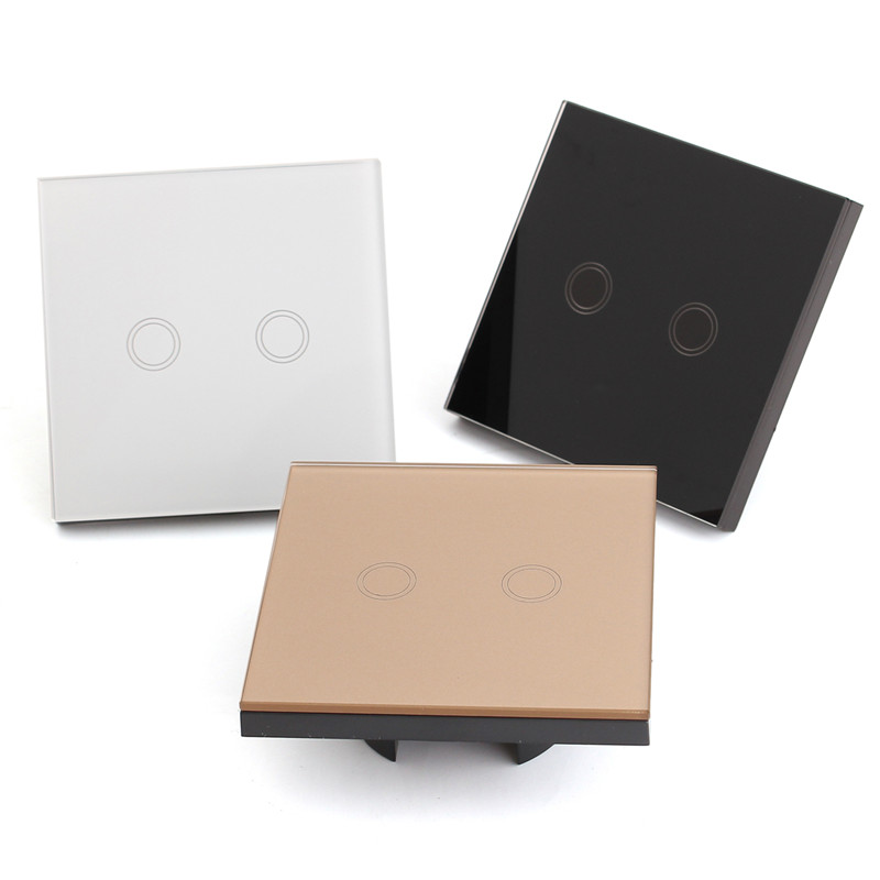 EU/UK Standard Remote Control Switches 2 Gang 1 Way,Crystal Glass Switch Panel,Remote Wall Touch Switch+LED Indicator Popular eu uk standard sesoo remote control switch 3 gang 1 way wireless remote control wall touch switch crystal glass switch panel