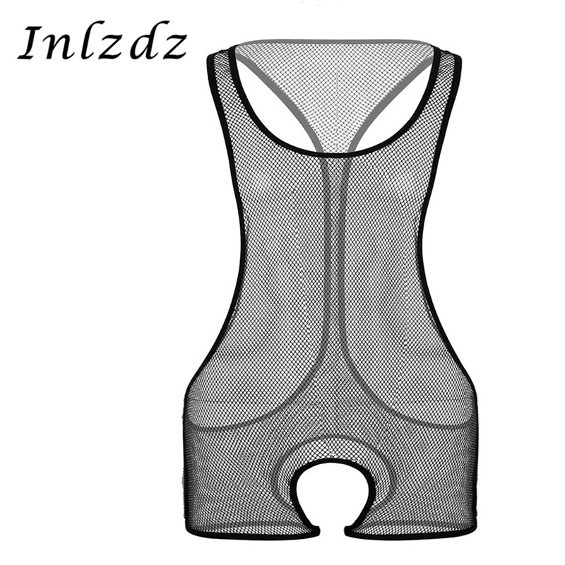 Men's Sheer Bodysuit See Through Gay Homme Sex Bodysuit Fishnet Sleeveless Leotard Hollow Out Transparents Exotic Sex Costumes
