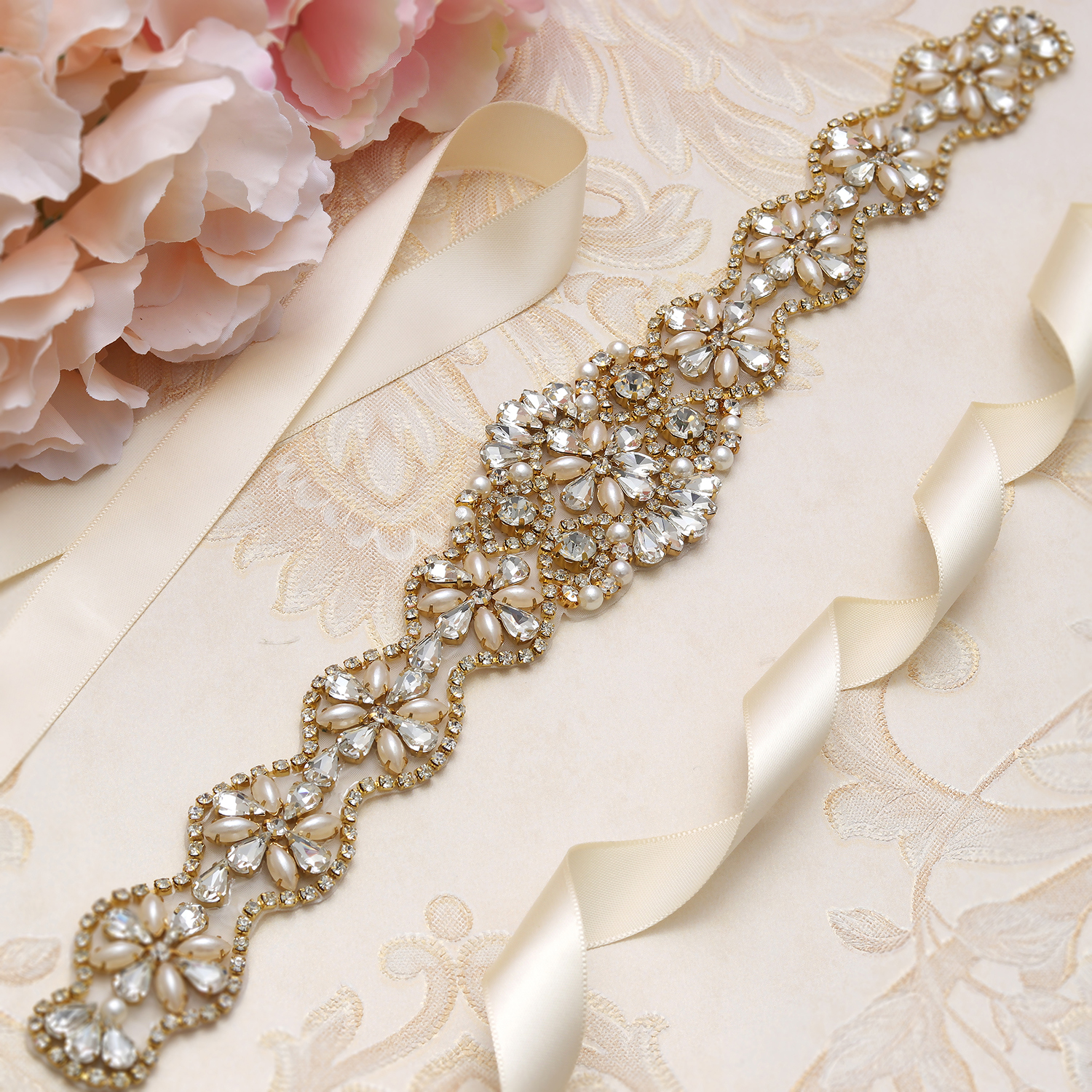 MissRDress Wedding Rhinestones Bridal Belt Pearls Crystal Bridal Belt Jeweled Bridal Sash For Wedding Dresses Pearl Belt JK806