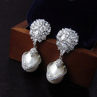 Fashion Cubic Ziron Stone Pave Setting Pearl Dangle Earrings Drop Earrings For Women Party Jewelry Wedding