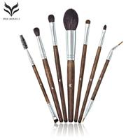 HUAMIANLI 10Pcs Makeup Brush Set Loose Powder Smoky Eyeshadow Eyebrow Eyelash Eyeliner Brushes Wooden Handle Cosmetic