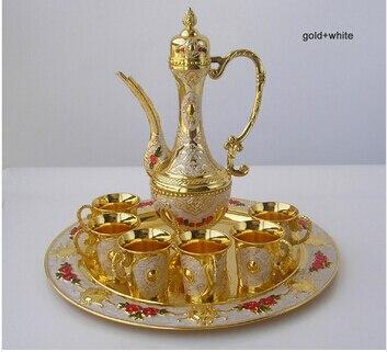 8 PCS/set alloy metal gold white wine set kitchen dining bar 6 wine cups 1 jar 1 tray embossed carved bar set wine set JJ006