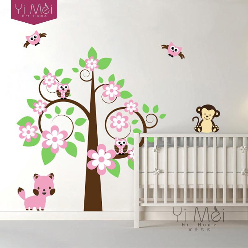 Wallpaper Cute Cat Owl Monkey Large Flower Tree Diy Wall Sticker Mural Decal Bedroom Kids Home Kids Baby Room Decor 160x175cm