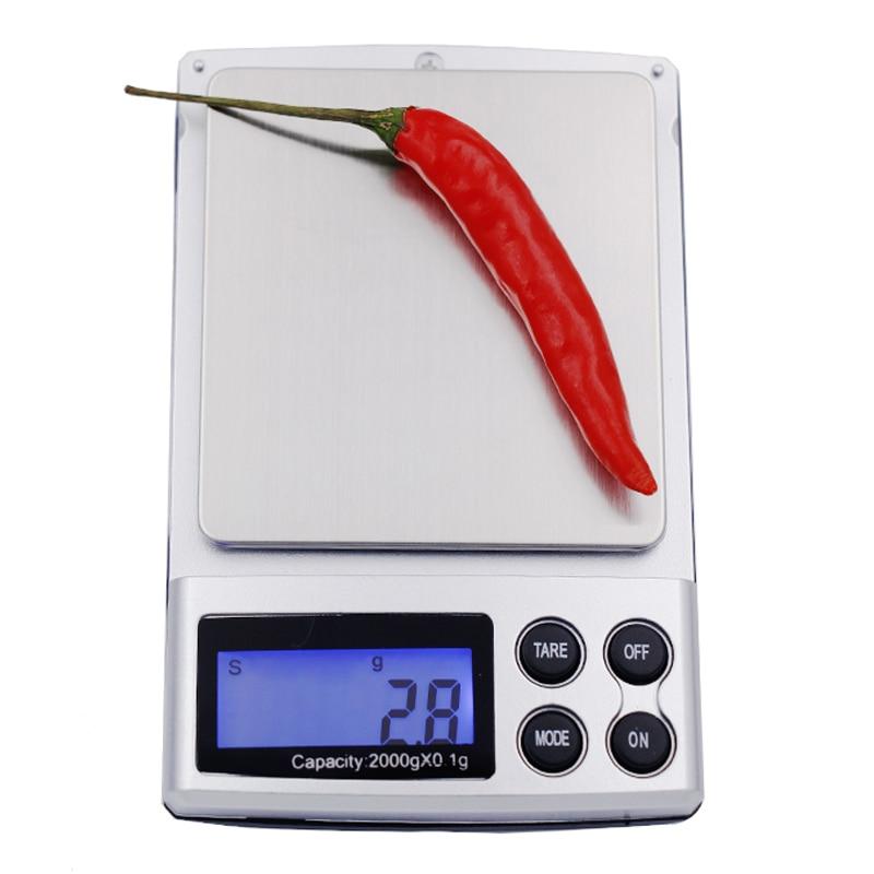 ventas calientes 0.1g x 2000g ESCALAS DE BOLSILLO DIGITAL mini DIGITAL 2 kg Balanzas de gramos Jewerlry balance de peso con luz de fondo 10% de descuento