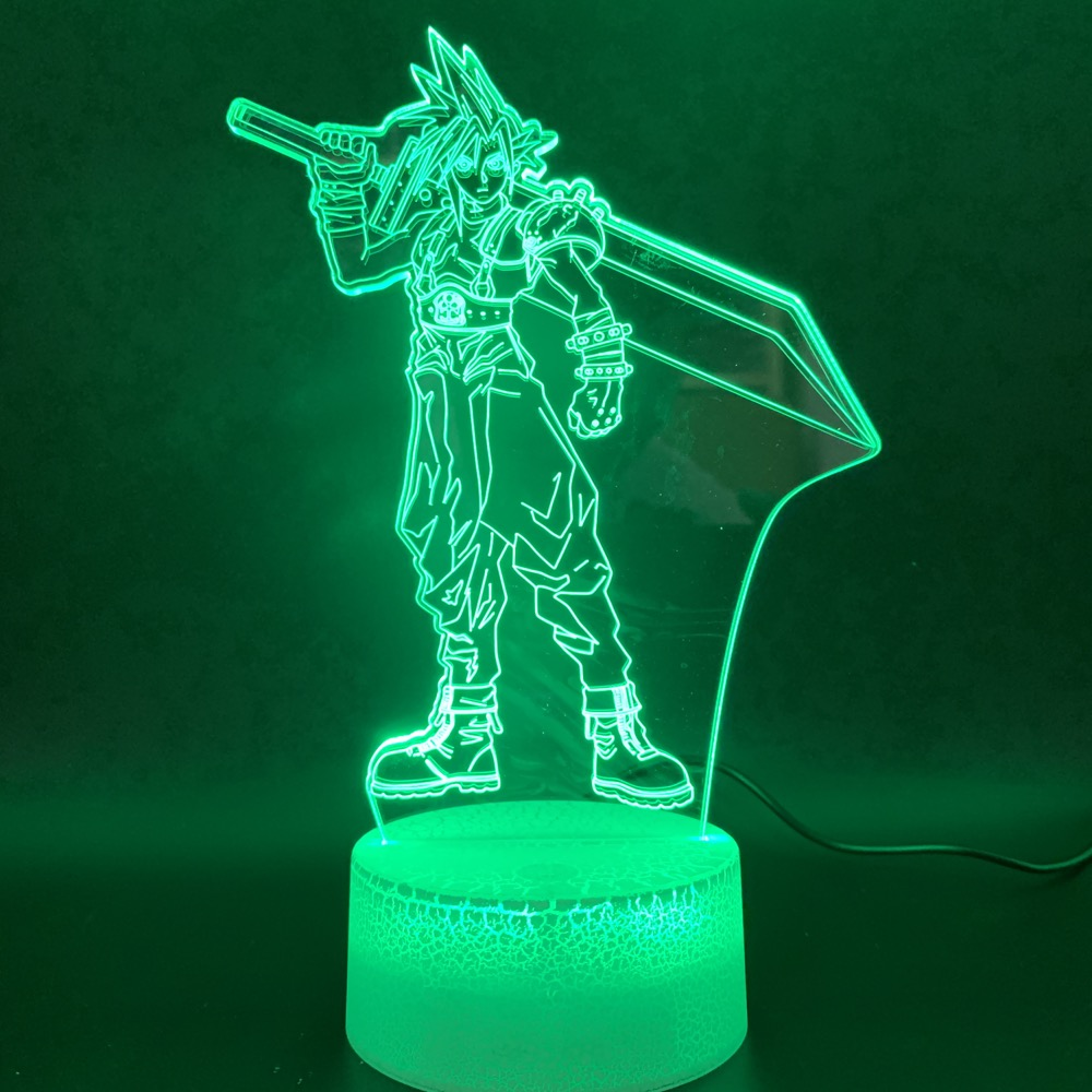 Novelty Light Final Fantasy Cloud Strife Figure Home Decor Color Changing Birthday Gift For Kids Bedroom 3d Led Night Light Lamp