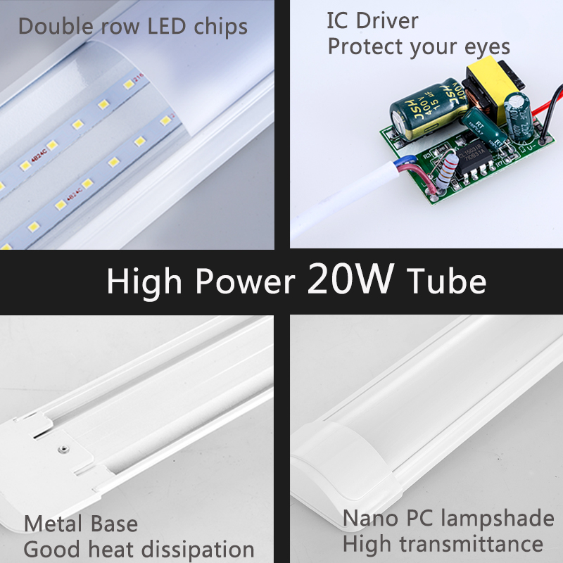 Super Bright Led T8 Tube Light 220V 600mm 60cm 1200mm High Power Led Tube Lamp Bulb Integrated 2FT 4FT 20W For Indoor Lighting