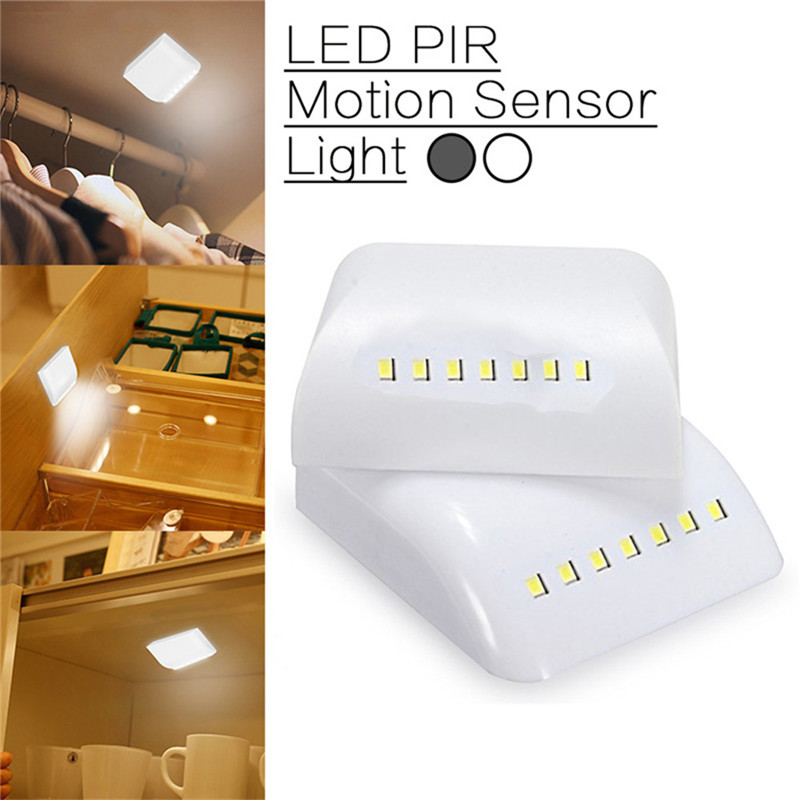 SXZM 7 LED Night Light Smart PIR Motion Sensor Night Lamp DC5V 2*AAA Battery ABS Wall Light Kitchen Cabinet Stair Bedroom Lamps