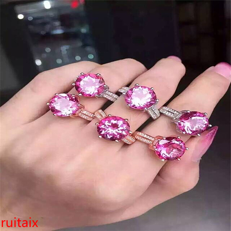 KJJEAXCMY fine jewelry 925 Pure silver inlaid with natural gemstone pink topaz ring jewelry gold and silver color.HUYTRSD kjjeaxcmy fine jewelry 925 pure silver with natural blue topaz bracelet jewelry gold and silver color