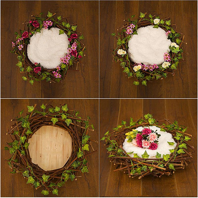 Newborn Photography Props Nest Infant Ring Flower Basket Baby Photo Posing Assistance Props Day Month Wood Nest