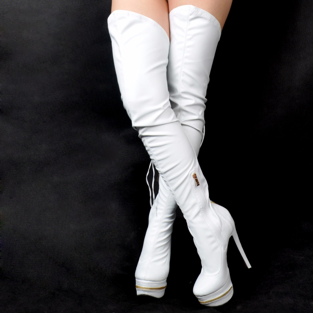Picture Dame Rond Femmes À 35 as Genou Talons Picture Discothèque De Sexy Cuir Sur Cm Le Taille Boot 44 Mince Chaussures 12 D'hiver Mode Hauts As Pour Bottes Bout En I0rxp0qO