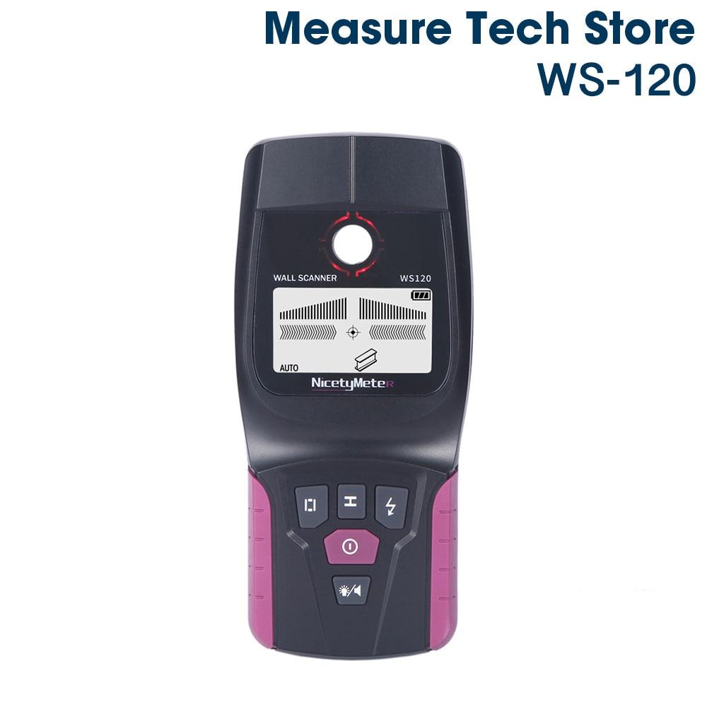 Nicetymeter WS 120 Handheld Multifunction Wall Detector Metal Wood Cable Wire Stud Pipe Finder Scanner LED Beep DIY WS120 Tester