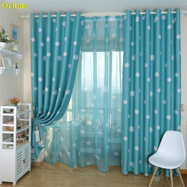 OCHINE 374984 Window Curtain Cute Tulle Pastoral Drapes Voile Sheer Cloud Curtains