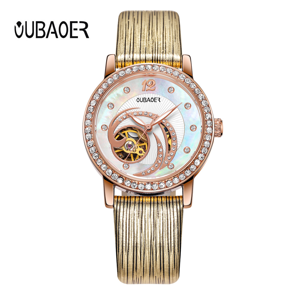 OUBAOER Gold Skeleton Automatic Watches Women Fashion Bracelet Watch Ladies Luxury Genuine Leather Mechanical Watch Relogio hvenshi automatic mechanical watch women rose gold watch top luxury watch ladies wristwatch fashion casual watches