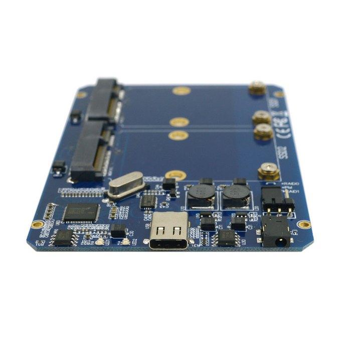ФОТО Cablecc Silver Color USB-C USB 3.1 Type C to Dual 50mm MSATA PCI-E SSD Enclosure with Raid Raid0 Raid1 or PM