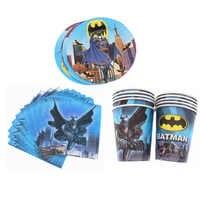 Cartoon Batman 40 stücke partei liefert Tasse Platte Servietten Einweg geschirr geburtstag Hochzeit für baby dusche dekoration hause