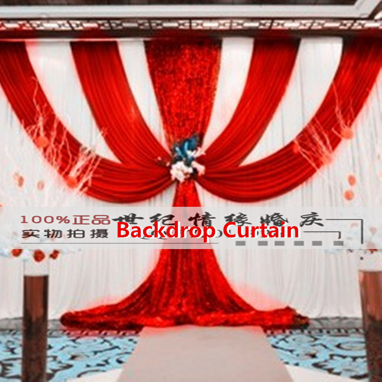 Red Wedding Backdrop Curtain Sequins Swag Top Ice Silk 3X6M(10FTx20FT) Party Background Drape Curtains Wedding Deaoration