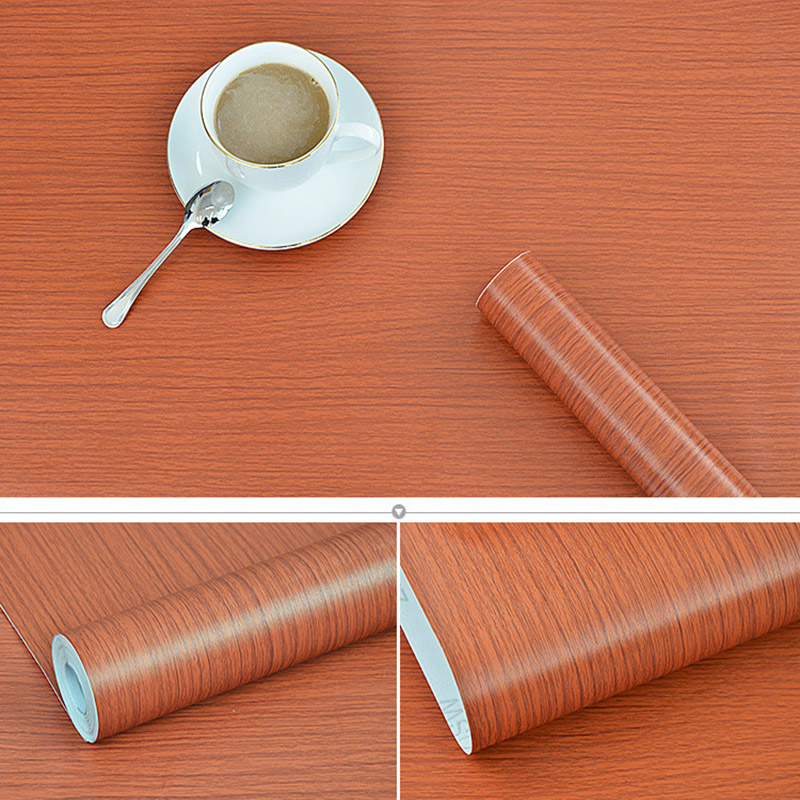 Wood Grain Self Adhesive Wallpaper Wardrobe Peel and Stick Wall Stickers Home Decor Waterproof Furniture Cabinet Sticker Paper