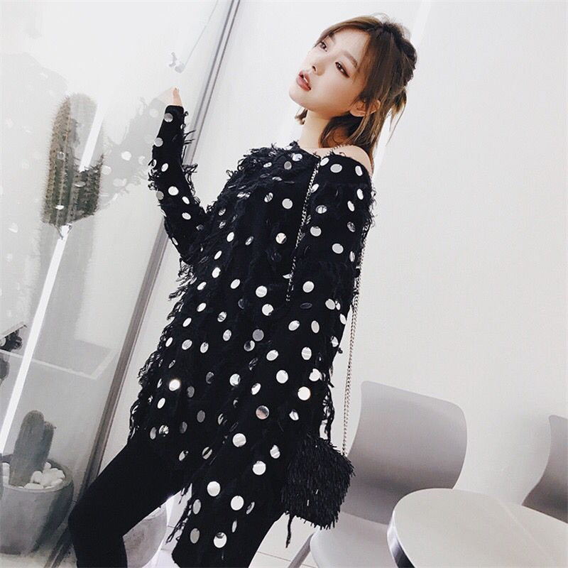 Pull Vêtements white Manches Femmes D'o 2019 Mode Hiver Chandail Paillettes Gagarich cou Tops À Black Longues mN8wvnO0