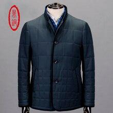DINGTONG Men Winter Warm Padded Jackets Man Mandarin Collar Lightweight Lined Overcoat Business Casual Slim Dark Blue Coat