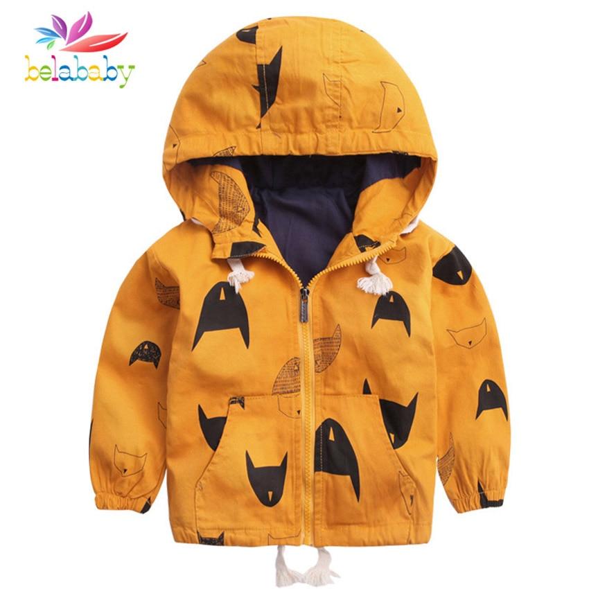 Belababy/Детское пальто с капюшоном Детская ветровка с милым принтом рыбы детская весенняя куртка для мальчиков и девочек детская верхняя одеж...