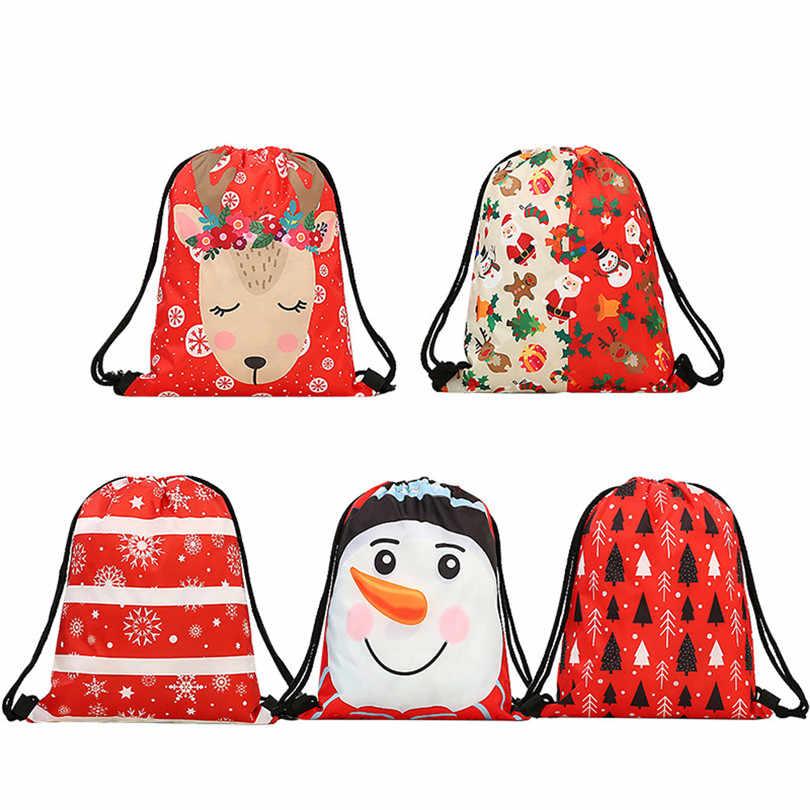 3D Printing Draw Pocket Backpack Drawstring Bag Shoulder Bag drawstring  backpack school shoe bag Christmas Bags