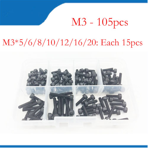 105Pcs/Set Metric M3 screws and Bolts Hex steel Kit Hex m3 Screw Nuts carbon Black Box free shipping 20pcs m3 m12 screw thread metric plugs taps tap wrench die wrench set