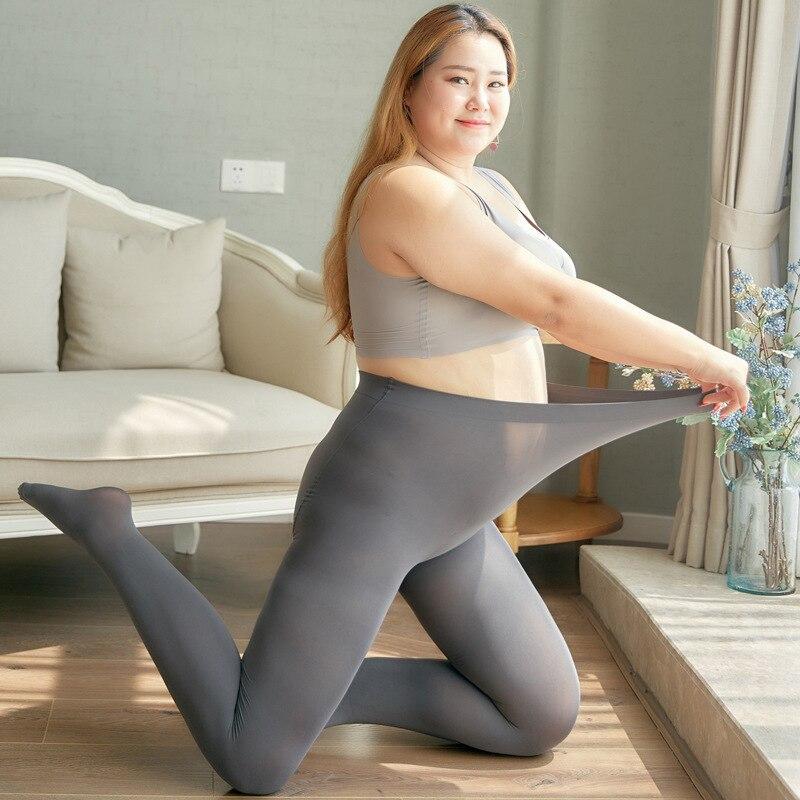 200kg Extra Fat Mm Rich Sister High Waist Nylon Anti-pilling High Density 1400D Bottom Woman Thicken Fur Warm Legging