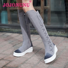 women real genuine leather flat over knee boots winter warm riding long boot flock tassel sexy footwear shoes R8146 size 33-42