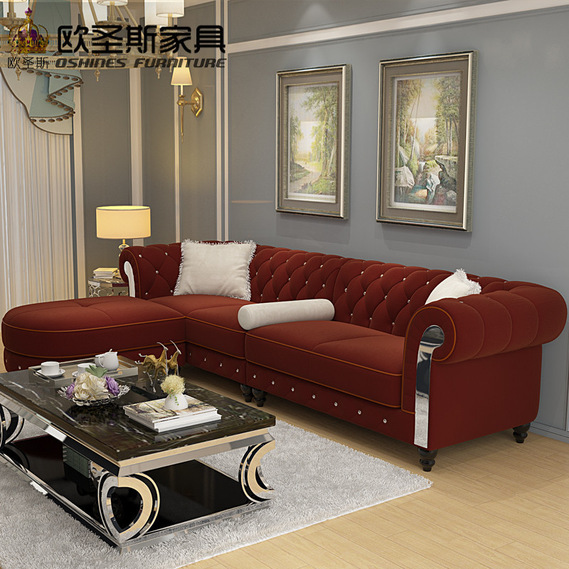 New Design Sofa Cloth Wine Red China Sofa 2019 Europe New Classic Crystal  Buttons Suede Fabric Sofa Set 4 Seat Chesterfield W36F