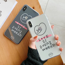 Transparent soft shell couple Phone Case For iPhone7 8 6cute letters love smile TPU Phone Case for iPhoneX XR XS ultra-thin Case