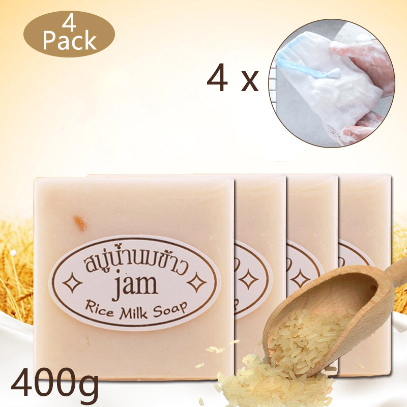 4Pcs Thailand Jasmine Rice Milk Handmade Soap With Bubble Net Bag Collagen Vitamin Whitening Acne Bleaching Agents,240g