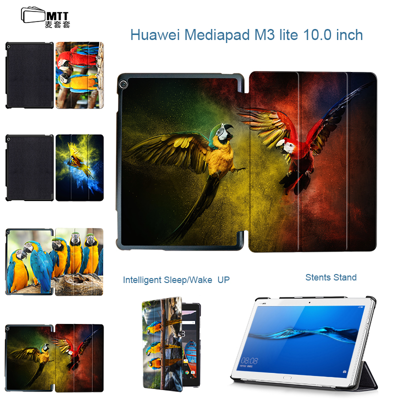 MTT Psittacidae PU Leather Case Smart Flip Cover For Huawei MediaPad M3 Lite 10 10.0 BAH-W09 BAH-AL00 BAH-L09 10.1 Tablet Case cover case for huawei mediapad m3 youth lite 8 cpn w09 cpn al00 8 tablet protective cover skin free stylus free film